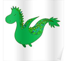 Cute cartoon dragon flying. Poster