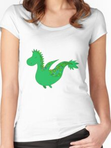 Cute cartoon dragon flying. Women's Fitted Scoop T-Shirt