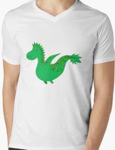 Cute cartoon dragon flying. Mens V-Neck T-Shirt