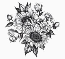 flowers in ink Kids Tee