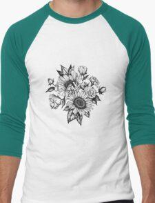 flowers in ink Men's Baseball ¾ T-Shirt