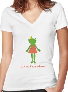 Love me. I'm a princess. Women's Fitted V-Neck T-Shirt