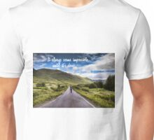 Man on Long Winding Country Road Quote Impossible Until Done Unisex T-Shirt