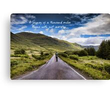 Man on Long Winding Country Road Quote A Journey of a Thousand Miles Begins with Just One Step Canvas Print