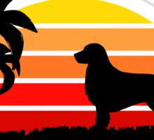 Golden Retriever on Sunset Beach Sticker
