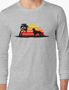 Golden Retriever on Sunset Beach Long Sleeve T-Shirt