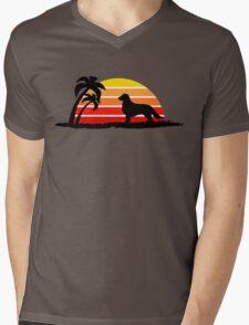 Golden Retriever on Sunset Beach Mens V-Neck T-Shirt