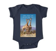 Three Giraffes Standing Together On African Plain One Piece - Short Sleeve