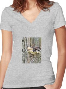 Mushroom on a Tree Trunk Women's Fitted V-Neck T-Shirt