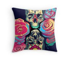 Skulls and Flowers Throw Pillow