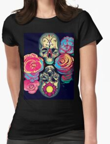 Skulls and Flowers Womens Fitted T-Shirt