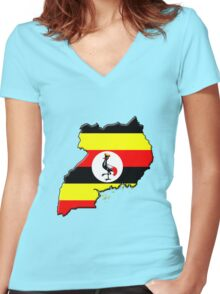 Ugandan flag and outline Women's Fitted V-Neck T-Shirt