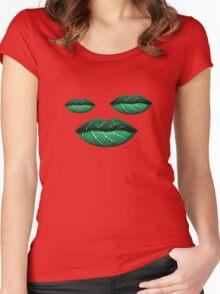 Green Lips Pattern Women's Fitted Scoop T-Shirt