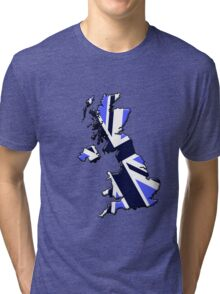 UK flag and outline Blue Tri-blend T-Shirt
