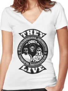 They Live Women's Fitted V-Neck T-Shirt
