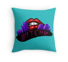 Witchy - Turquoise Background Throw Pillow