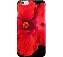 Red Hibiscus Flower on Black Background iPhone Case/Skin