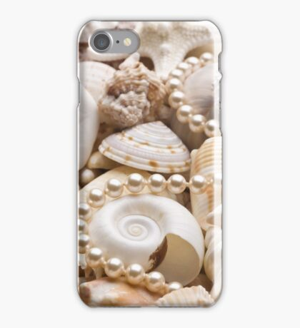 White Seashell Background Brown Sea Shells with Pearls Necklace iPhone Case/Skin
