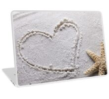Heart Drawn In Sand Sandy Beach Starfish Seashell Shell Laptop Skin