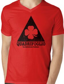 Quadrifoglio Cutout Black Vintage Graphic Mens V-Neck T-Shirt