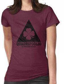 Quadrifoglio Cutout Black Vintage Graphic Womens Fitted T-Shirt