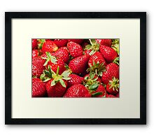 Red Strawberries Berries Fruit Strawberry Berry Background Framed Print