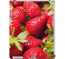 Red Strawberries Berries Fruit Strawberry Berry Background iPad Case/Skin
