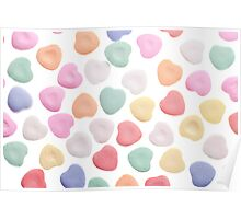 Pink Yellow White Orange Green Valentine's Day Candy Hearts Poster