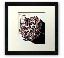 Woman Sitting in Chair Made of Her Friends Framed Print