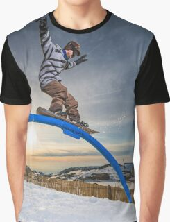 Snowboarder sliding on a rail Graphic T-Shirt