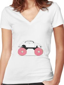 Trunkin' Donuts Women's Fitted V-Neck T-Shirt