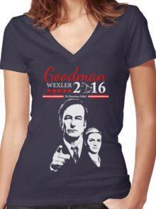 GOODMAN WEXLER 2016 It's Showtime Folks! Better Call Saul Women's Fitted V-Neck T-Shirt