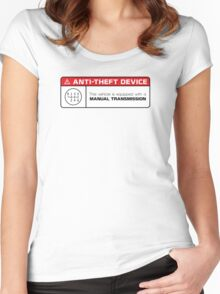 Anti-Theft Device: Manual Transmission Warning Women's Fitted Scoop T-Shirt