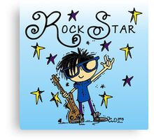Black Hair Boy Rock Star Canvas Print