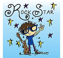 Brown Hair Boy Rock Star Photographic Print