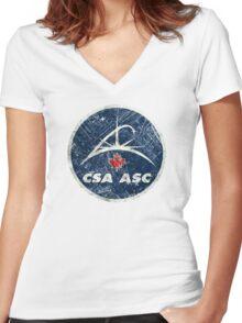 Vintage Emblem Canadian Space Agency Women's Fitted V-Neck T-Shirt