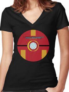 Stark Tech Pokeball Women's Fitted V-Neck T-Shirt