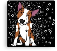 Starry English Bull Terrier Red and White Canvas Print
