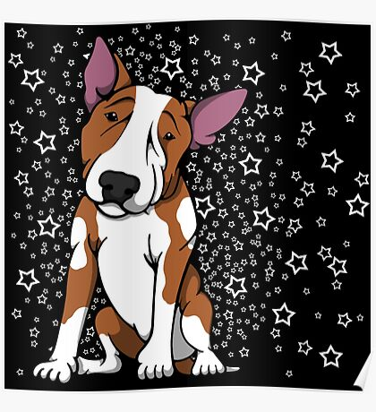 Starry English Bull Terrier Red and White Poster