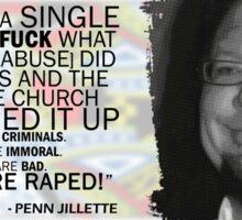 Jenn Jillette Catholic Church quote 2w Sticker