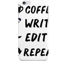 Coffee Write Save Repeat Writers Coffee Lovers Black Vector Design iPhone Case/Skin