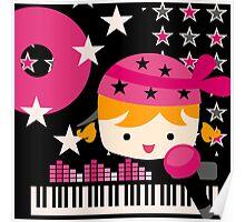 Blond Hair Little Rock Star Girl Poster