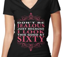 Don't Be Jealous - 60 Women's Fitted V-Neck T-Shirt