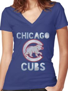 Chicago Cubs Skyline Women's Fitted V-Neck T-Shirt