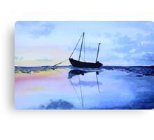Single Boat Seascape Canvas Print