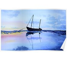 Single Boat Seascape Poster