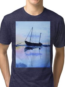 Single Boat Seascape Tri-blend T-Shirt