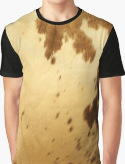 Rustic Country Western Cream Brown Long Horn Cowhide Pattern Graphic T-Shirt