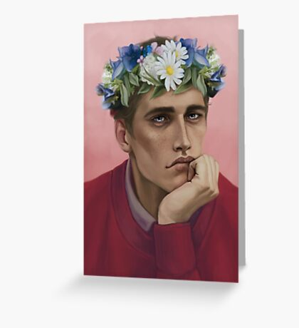 Flower crown Adam Greeting Card