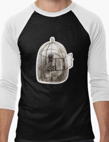 Black Owl in a Birdcage Men's Baseball ¾ T-Shirt